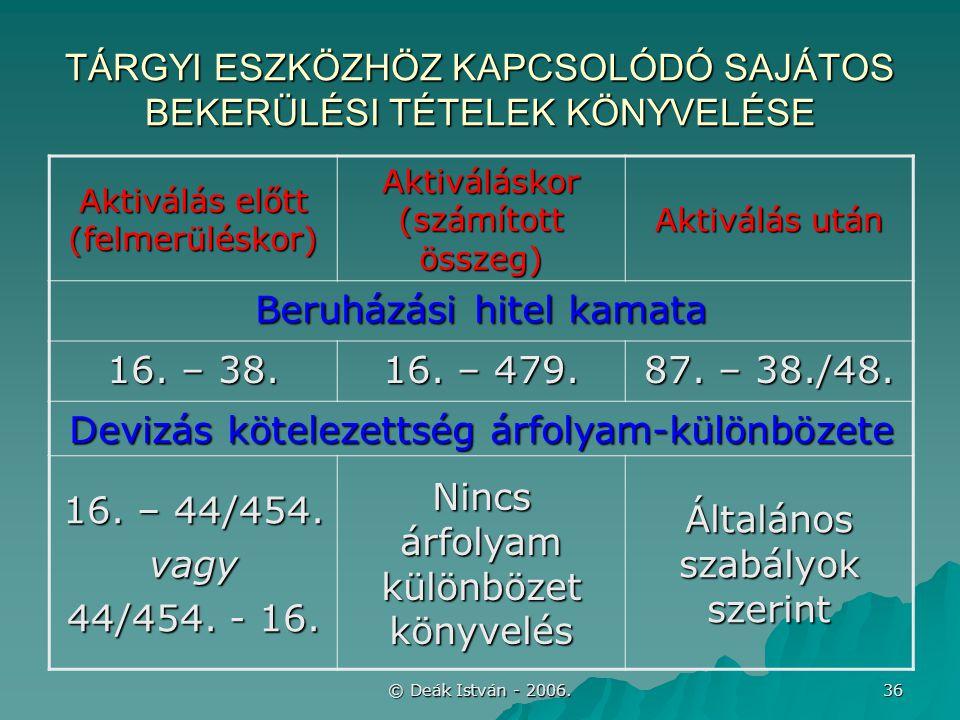 © Deák István - 2006. 36 TÁRGYI ESZKÖZHÖZ KAPCSOLÓDÓ SAJÁTOS BEKERÜLÉSI TÉTELEK KÖNYVELÉSE Aktiválás előtt (felmerüléskor) Aktiváláskor (számított öss