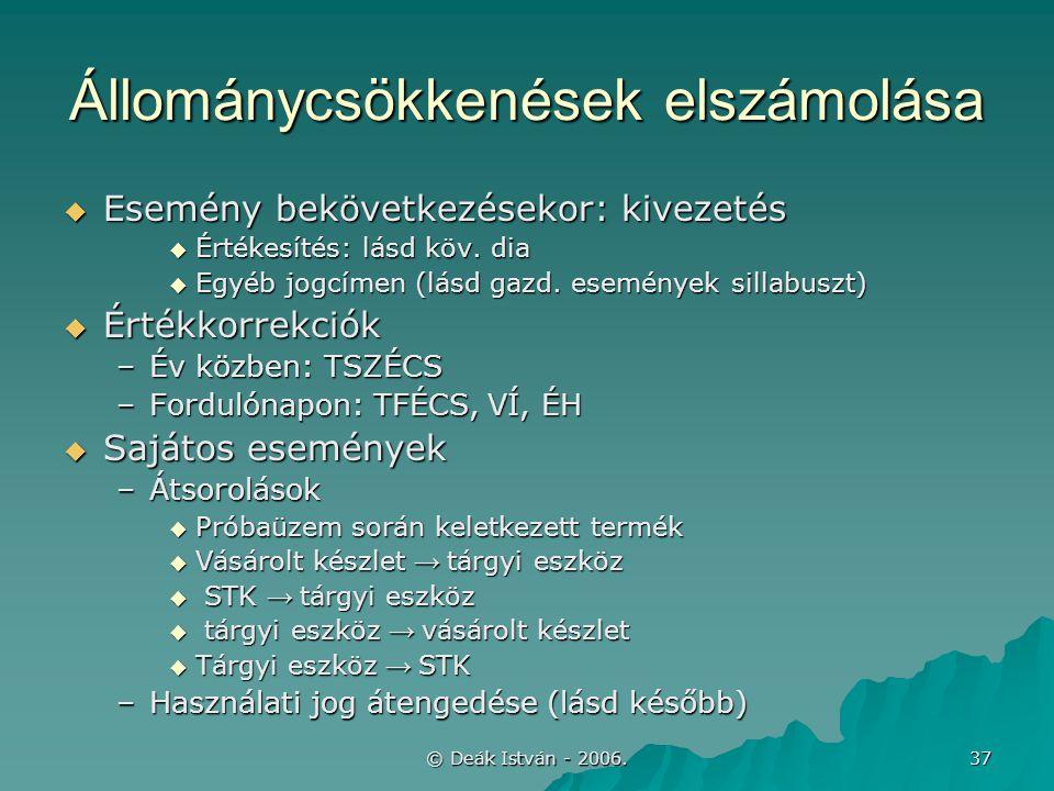© Deák István - 2006. 37 Állománycsökkenések elszámolása  Esemény bekövetkezésekor: kivezetés  Értékesítés: lásd köv. dia  Egyéb jogcímen (lásd gaz