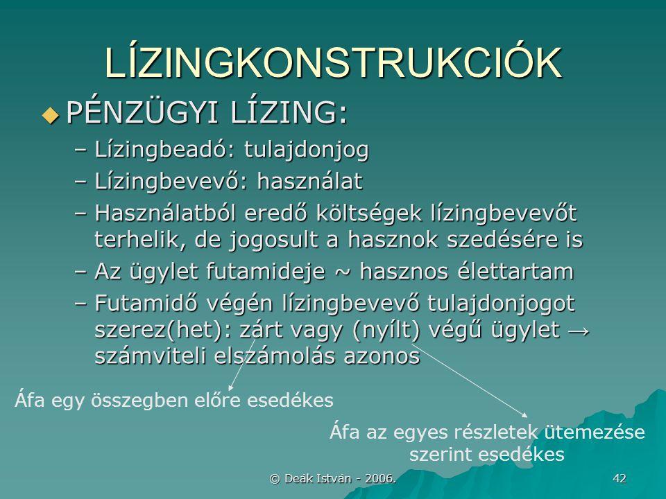 © Deák István - 2006. 42 LÍZINGKONSTRUKCIÓK  PÉNZÜGYI LÍZING: –Lízingbeadó: tulajdonjog –Lízingbevevő: használat –Használatból eredő költségek lízing