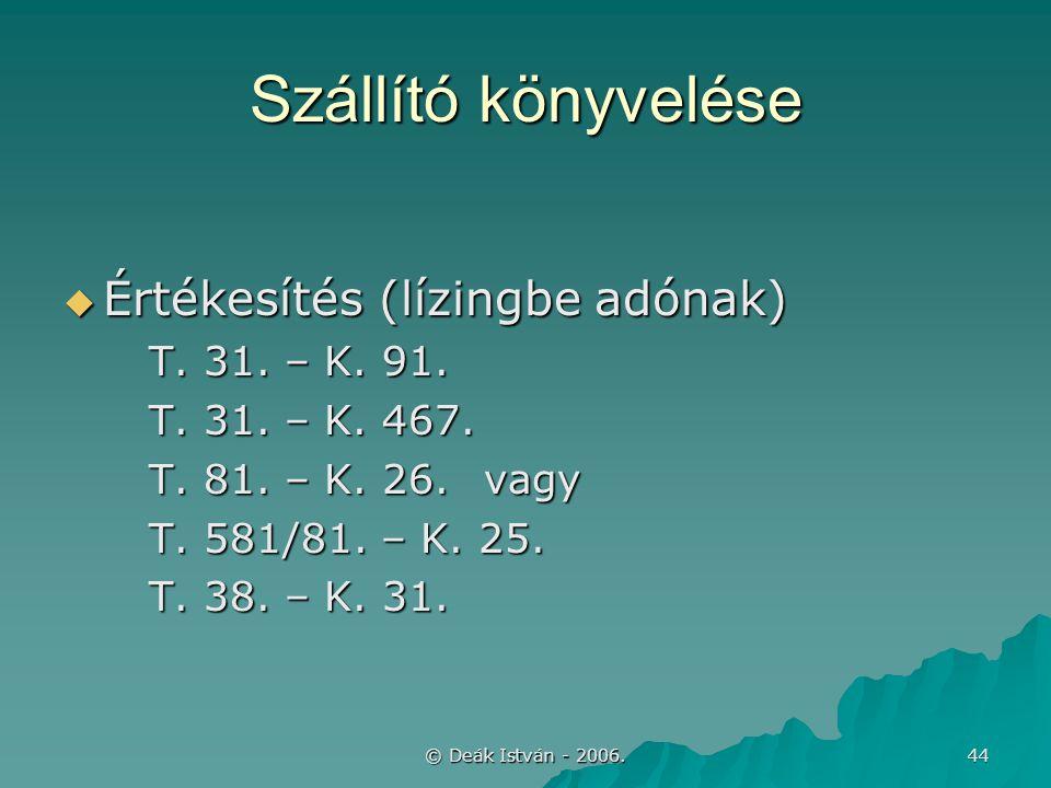 © Deák István - 2006. 44 Szállító könyvelése  Értékesítés (lízingbe adónak) T. 31. – K. 91. T. 31. – K. 467. T. 81. – K. 26.vagy T. 581/81. – K. 25.
