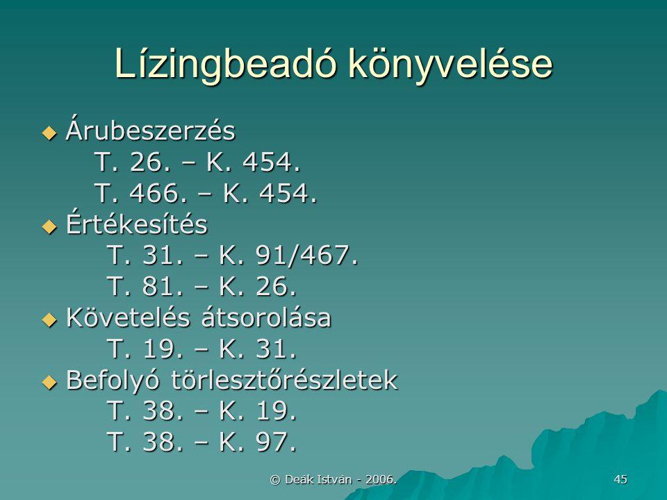 © Deák István - 2006. 45 Lízingbeadó könyvelése  Árubeszerzés T. 26. – K. 454. T. 466. – K. 454.  Értékesítés T. 31. – K. 91/467. T. 81. – K. 26. 