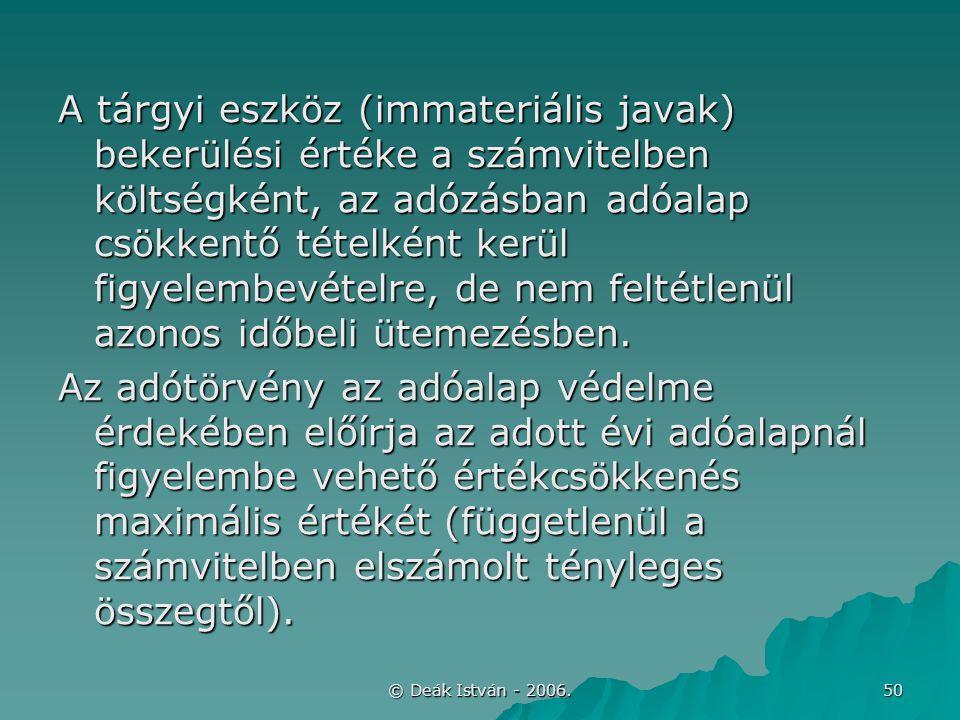 © Deák István - 2006. 50 A tárgyi eszköz (immateriális javak) bekerülési értéke a számvitelben költségként, az adózásban adóalap csökkentő tételként k