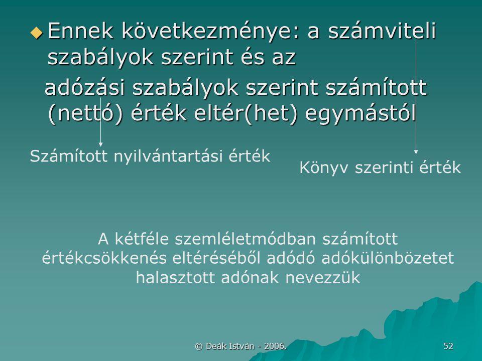 © Deák István - 2006. 52  Ennek következménye: a számviteli szabályok szerint és az adózási szabályok szerint számított (nettó) érték eltér(het) egym