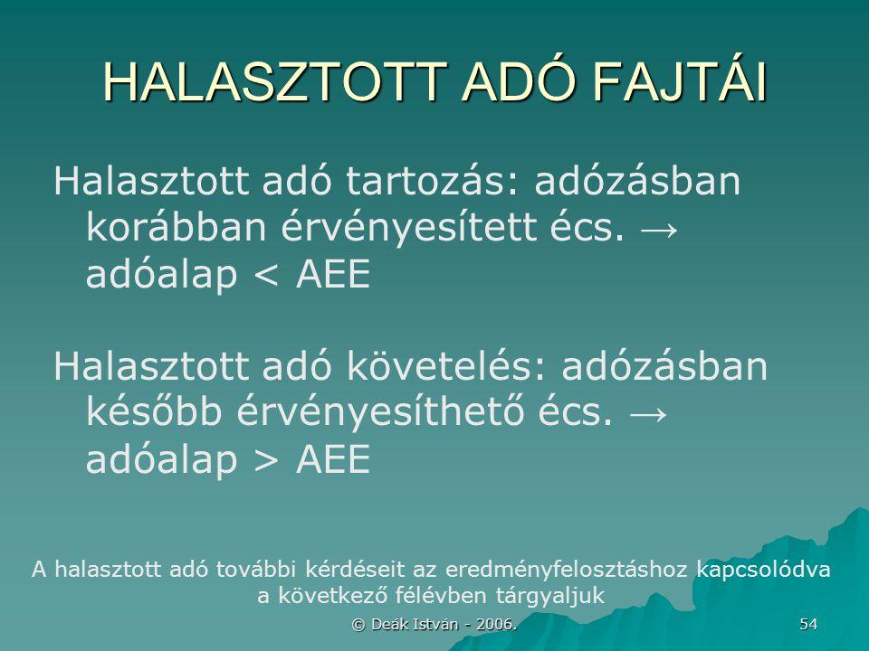 © Deák István - 2006. 54 HALASZTOTT ADÓ FAJTÁI Halasztott adó tartozás: adózásban korábban érvényesített écs. → adóalap < AEE Halasztott adó követelés
