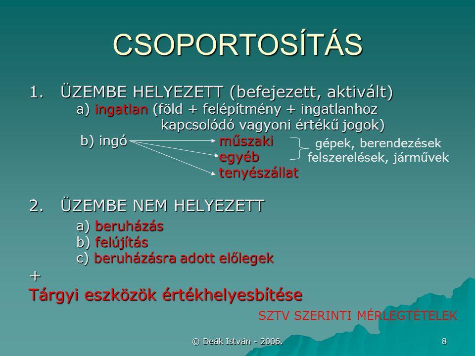 © Deák István - 2006. 8 CSOPORTOSÍTÁS 1.ÜZEMBE HELYEZETT (befejezett, aktivált) a) ingatlan (föld + felépítmény + ingatlanhoz kapcsolódó vagyoni érték