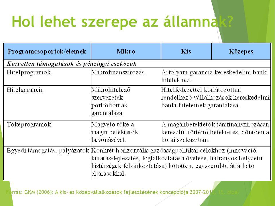 Forrás: GKM (2006): A kis- és középvállalkozások fejlesztésének koncepciója 2007-2013, 15. oldal Hol lehet szerepe az államnak?