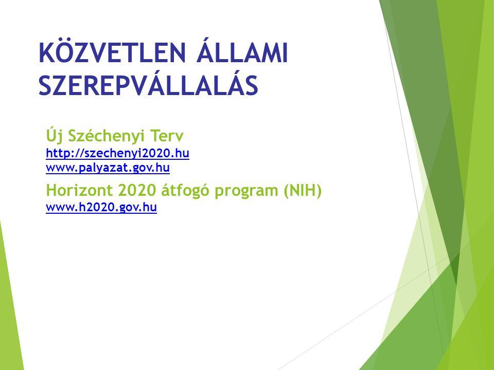 KÖZVETLEN ÁLLAMI SZEREPVÁLLALÁS Új Széchenyi Terv http://szechenyi2020.hu www.palyazat.gov.hu Horizont 2020 átfogó program (NIH) www.h2020.gov.hu