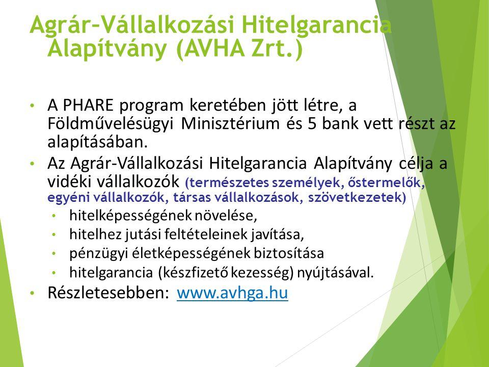 Agrár–Vállalkozási Hitelgarancia Alapítvány (AVHA Zrt.) A PHARE program keretében jött létre, a Földművelésügyi Minisztérium és 5 bank vett részt az a