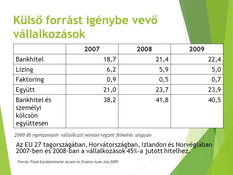 Külső forrást igénybe vevő vállalkozások 200720082009 Bankhitel18,721,422,4 Lízing6,25,95,0 Faktoring0,90,50,7 Együtt21,023,723,9 Bankhitel és személy