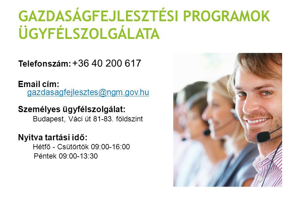 GAZDASÁGFEJLESZTÉSI PROGRAMOK ÜGYFÉLSZOLGÁLATA Telefonszám: +36 40 200 617 Email cím: gazdasagfejlesztes@ngm.gov.hu Személyes ügyfélszolgálat: Budapes