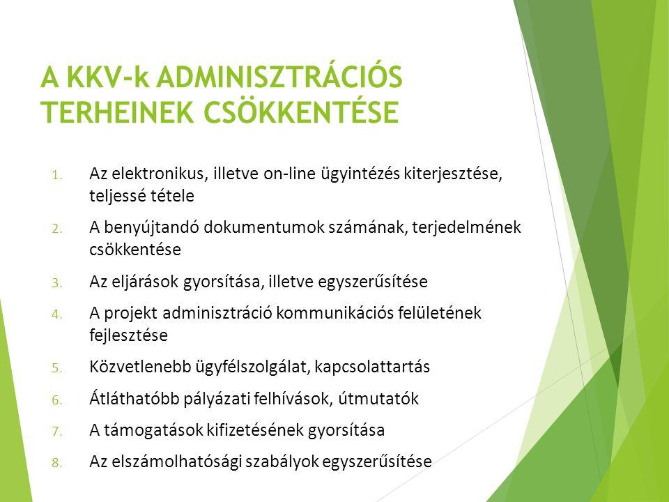A KKV-k ADMINISZTRÁCIÓS TERHEINEK CSÖKKENTÉSE 1. Az elektronikus, illetve on-line ügyintézés kiterjesztése, teljessé tétele 2. A benyújtandó dokumentu