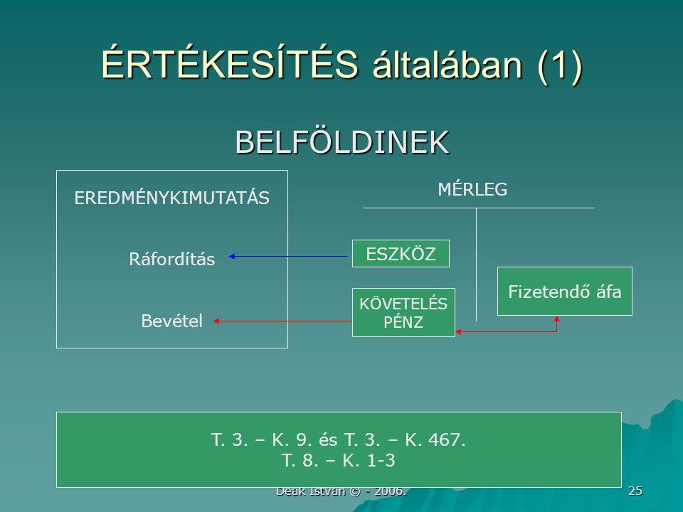 Deák István © - 2006. 25 ÉRTÉKESÍTÉS általában (1) BELFÖLDINEK EREDMÉNYKIMUTATÁS Ráfordítás Bevétel ESZKÖZ Fizetendő áfa T. 3. – K. 9. és T. 3. – K. 4