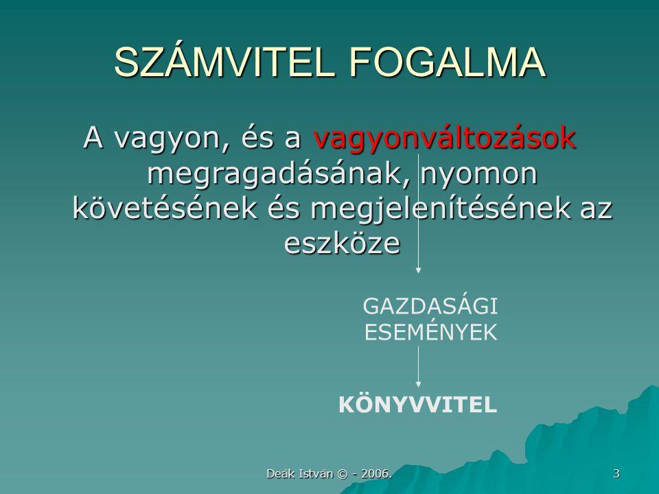 Deák István © - 2006. 3 SZÁMVITEL FOGALMA A vagyon, és a vagyonváltozások megragadásának, nyomon követésének és megjelenítésének az eszköze GAZDASÁGI