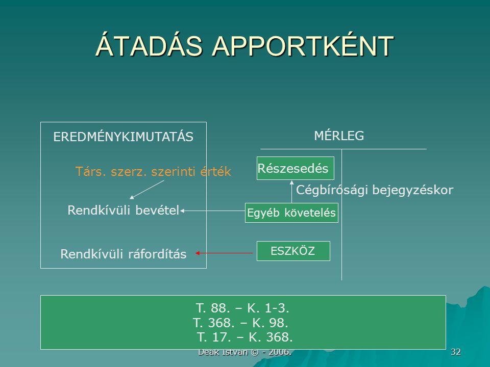 Deák István © - 2006. 32 ÁTADÁS APPORTKÉNT EREDMÉNYKIMUTATÁS Rendkívüli bevétel Rendkívüli ráfordítás Részesedés T. 88. – K. 1-3. T. 368. – K. 98. T.
