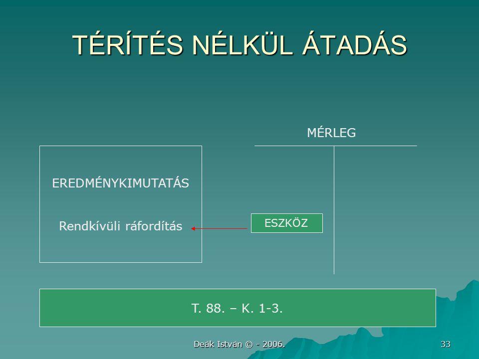 Deák István © - 2006. 33 TÉRÍTÉS NÉLKÜL ÁTADÁS EREDMÉNYKIMUTATÁS Rendkívüli ráfordítás T. 88. – K. 1-3. MÉRLEG ESZKÖZ