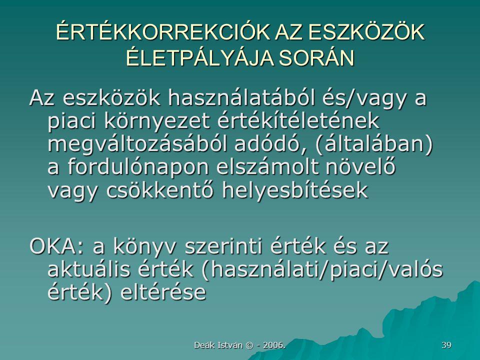Deák István © - 2006. 39 ÉRTÉKKORREKCIÓK AZ ESZKÖZÖK ÉLETPÁLYÁJA SORÁN Az eszközök használatából és/vagy a piaci környezet értékítéletének megváltozás