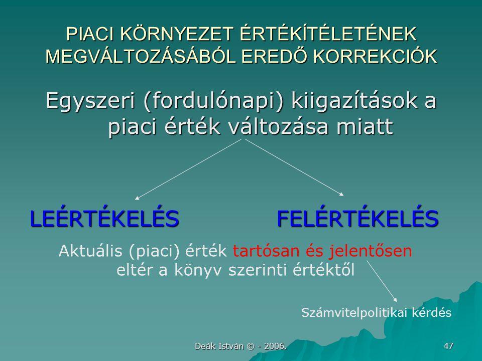 Deák István © - 2006. 47 PIACI KÖRNYEZET ÉRTÉKÍTÉLETÉNEK MEGVÁLTOZÁSÁBÓL EREDŐ KORREKCIÓK Egyszeri (fordulónapi) kiigazítások a piaci érték változása