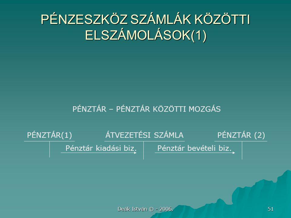 Deák István © - 2006. 51 PÉNZESZKÖZ SZÁMLÁK KÖZÖTTI ELSZÁMOLÁSOK(1) PÉNZTÁR – PÉNZTÁR KÖZÖTTI MOZGÁS PÉNZTÁR(1) ÁTVEZETÉSI SZÁMLA PÉNZTÁR (2) Pénztár