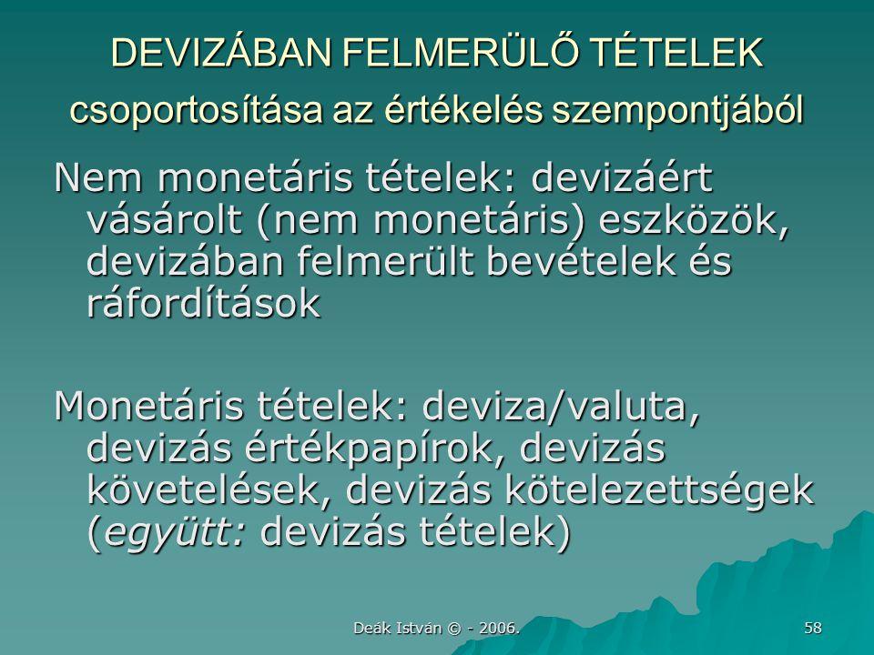 Deák István © - 2006. 58 DEVIZÁBAN FELMERÜLŐ TÉTELEK csoportosítása az értékelés szempontjából Nem monetáris tételek: devizáért vásárolt (nem monetári