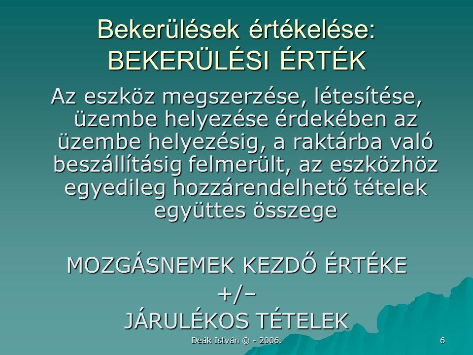 Deák István © - 2006. 6 Bekerülések értékelése: BEKERÜLÉSI ÉRTÉK Az eszköz megszerzése, létesítése, üzembe helyezése érdekében az üzembe helyezésig, a