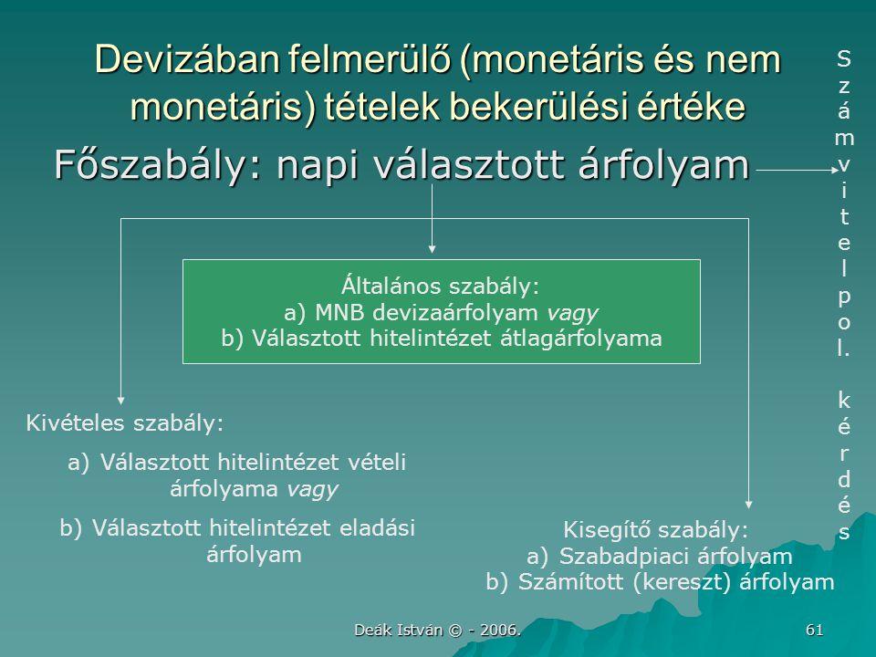 Deák István © - 2006. 61 Devizában felmerülő (monetáris és nem monetáris) tételek bekerülési értéke Főszabály: napi választott árfolyam Általános szab
