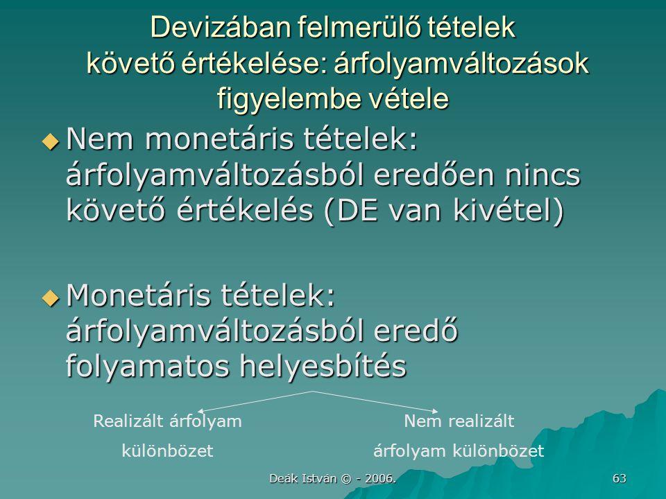 Deák István © - 2006. 63 Devizában felmerülő tételek követő értékelése: árfolyamváltozások figyelembe vétele  Nem monetáris tételek: árfolyamváltozás