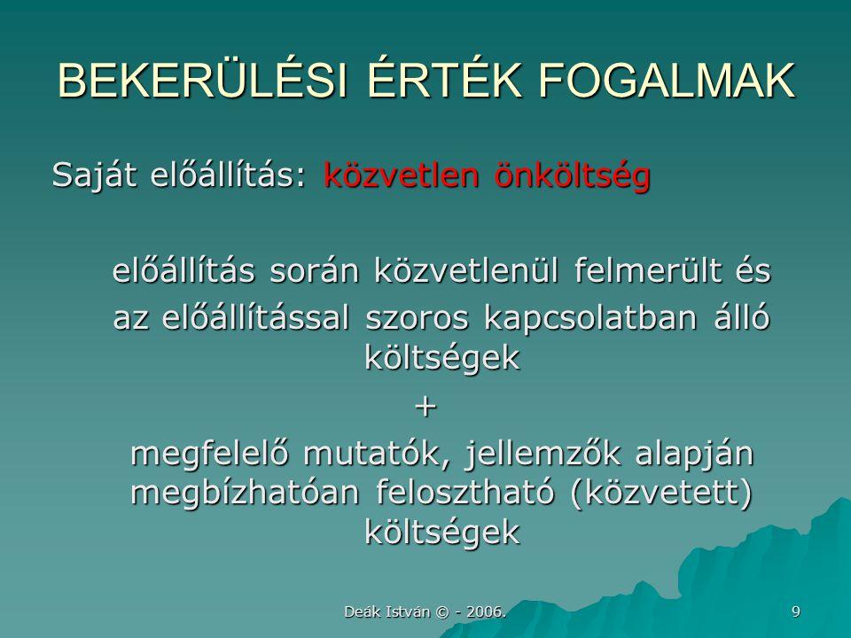 Deák István © - 2006. 9 BEKERÜLÉSI ÉRTÉK FOGALMAK Saját előállítás: közvetlen önköltség előállítás során közvetlenül felmerült és az előállítással szo
