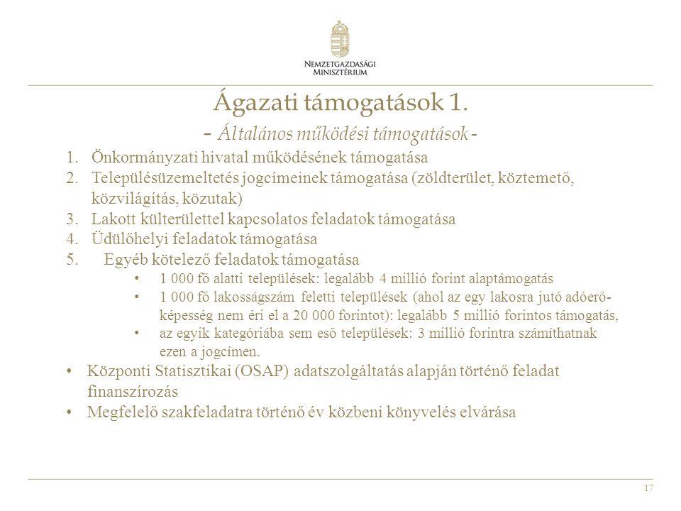17 Ágazati támogatások 1. - Általános működési támogatások - 1.Önkormányzati hivatal működésének támogatása 2.Településüzemeltetés jogcímeinek támogat