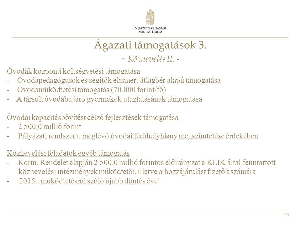 19 Ágazati támogatások 3. - Köznevelés II. - Óvodák központi költségvetési támogatása - Óvodapedagógusok és segítők elismert átlagbér alapú támogatása