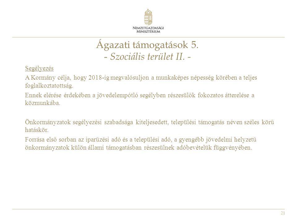 21 Ágazati támogatások 5. - Szociális terület II. - Segélyezés A Kormány célja, hogy 2018-ig megvalósuljon a munkaképes népesség körében a teljes fogl