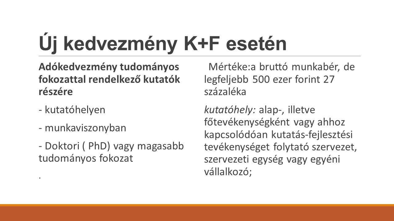 Új kedvezmény K+F esetén Adókedvezmény tudományos fokozattal rendelkező kutatók részére - kutatóhelyen - munkaviszonyban - Doktori ( PhD) vagy magasabb tudományos fokozat.