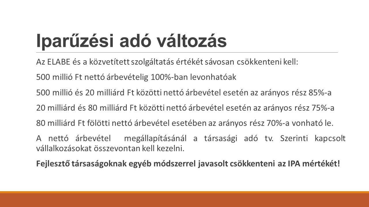 Iparűzési adó változás Az ELABE és a közvetített szolgáltatás értékét sávosan csökkenteni kell: 500 millió Ft nettó árbevételig 100%-ban levonhatóak 500 millió és 20 milliárd Ft közötti nettó árbevétel esetén az arányos rész 85%-a 20 milliárd és 80 milliárd Ft közötti nettó árbevétel esetén az arányos rész 75%-a 80 milliárd Ft fölötti nettó árbevétel esetében az arányos rész 70%-a vonható le.