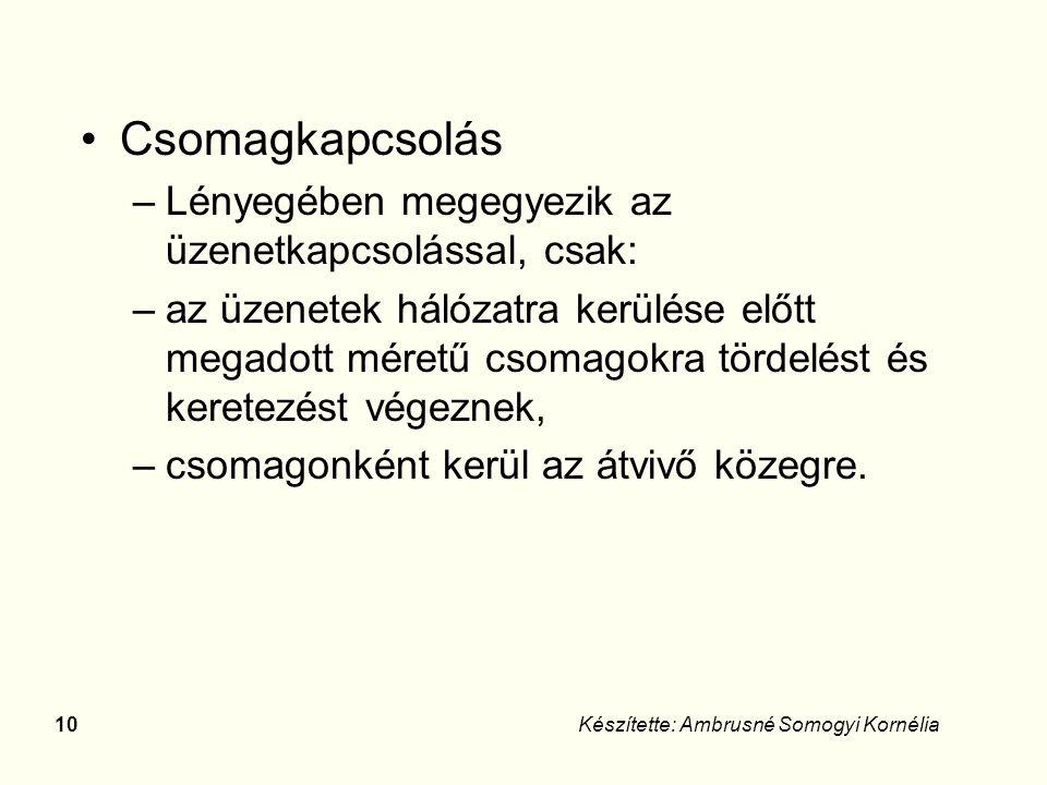 9Készítette: Ambrusné Somogyi Kornélia Üzenetkapcsolás –Nincs előre rögzített kommunikációs útvonal, az üzenet tartalmazza a fejlécében a rendeltetési címet.