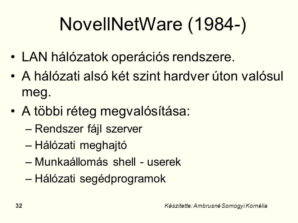 31Készítette: Ambrusné Somogyi Kornélia Hálózati operációs rendszerek Novell WindowsNT Unix