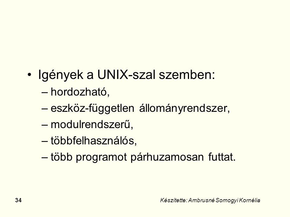 33Készítette: Ambrusné Somogyi Kornélia UNIX operációs rendszer Kifejlesztése a 60-as években a Bell laboratóriumban.