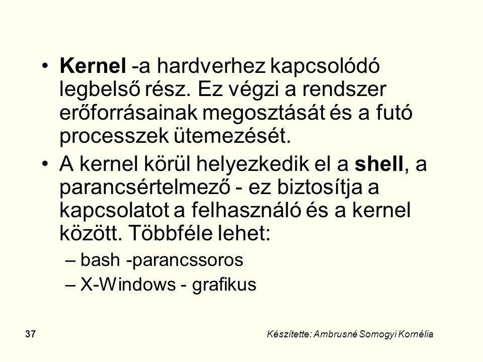 36Készítette: Ambrusné Somogyi Kornélia A Linux szerkezete HW