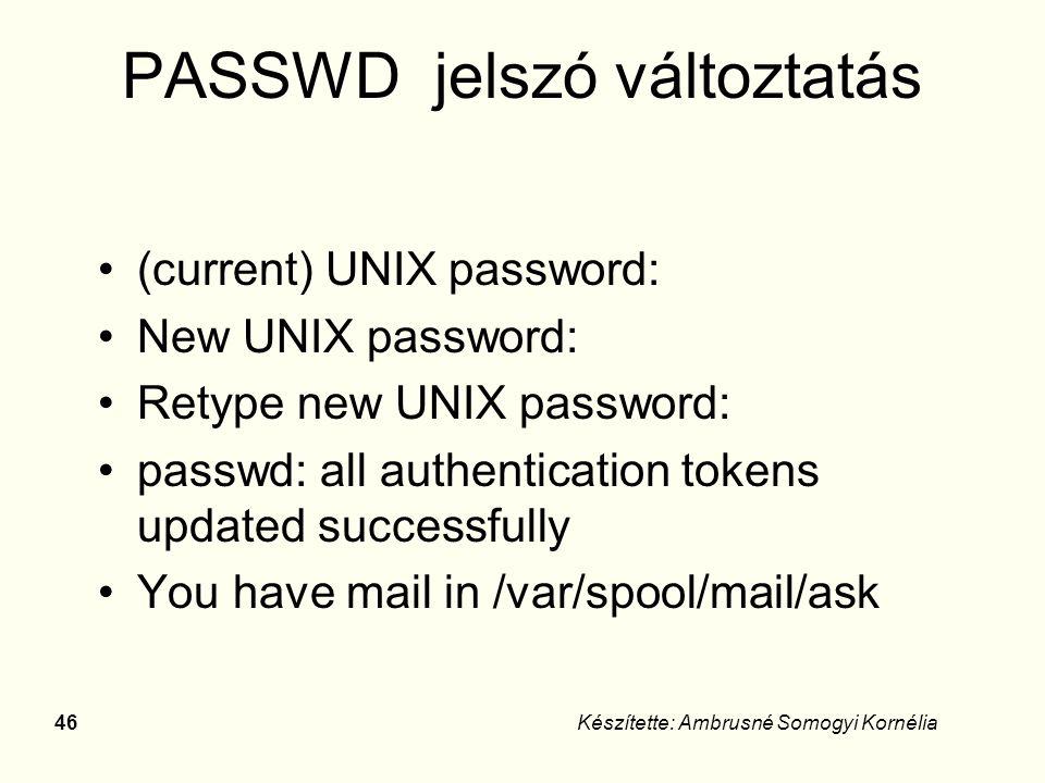 UNIX parancsok DOSUNIX / Linux DIRls -l TYPEcat COPYcp FINDgrep RENmv DELrm MDmkdir RDrmdir CDcd ATTRIBchmod HELPman DATEdate CHKDSKdf PRINTipr