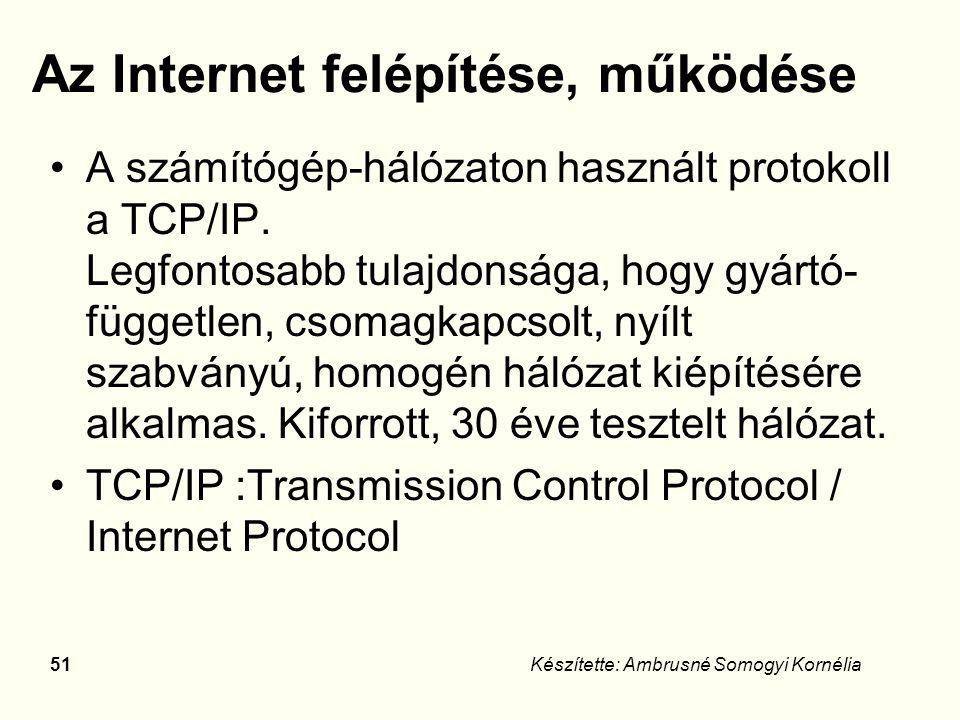 50Készítette: Ambrusné Somogyi Kornélia Internet története Eleinte az oktatási kutatási szféra fejlesztette, később a kereskedelmi cégek láttak benne reklámlehetőséget.