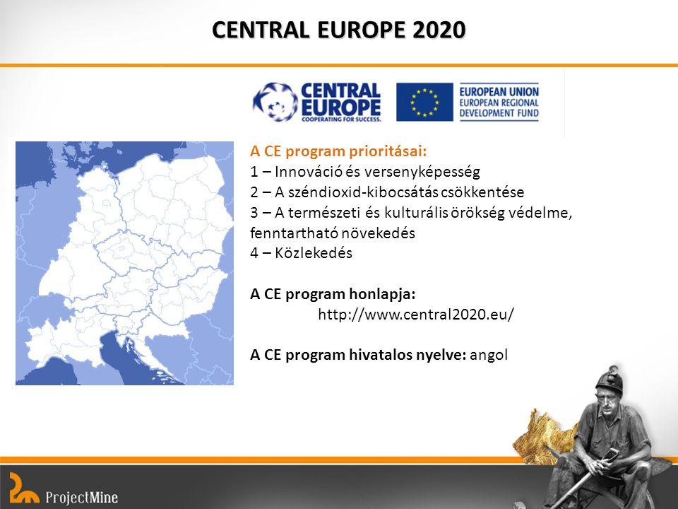 CENTRAL EUROPE 2020 A CE program prioritásai: 1 – Innováció és versenyképesség 2 – A széndioxid-kibocsátás csökkentése 3 – A természeti és kulturális örökség védelme, fenntartható növekedés 4 – Közlekedés A CE program honlapja: http://www.central2020.eu/ A CE program hivatalos nyelve: angol