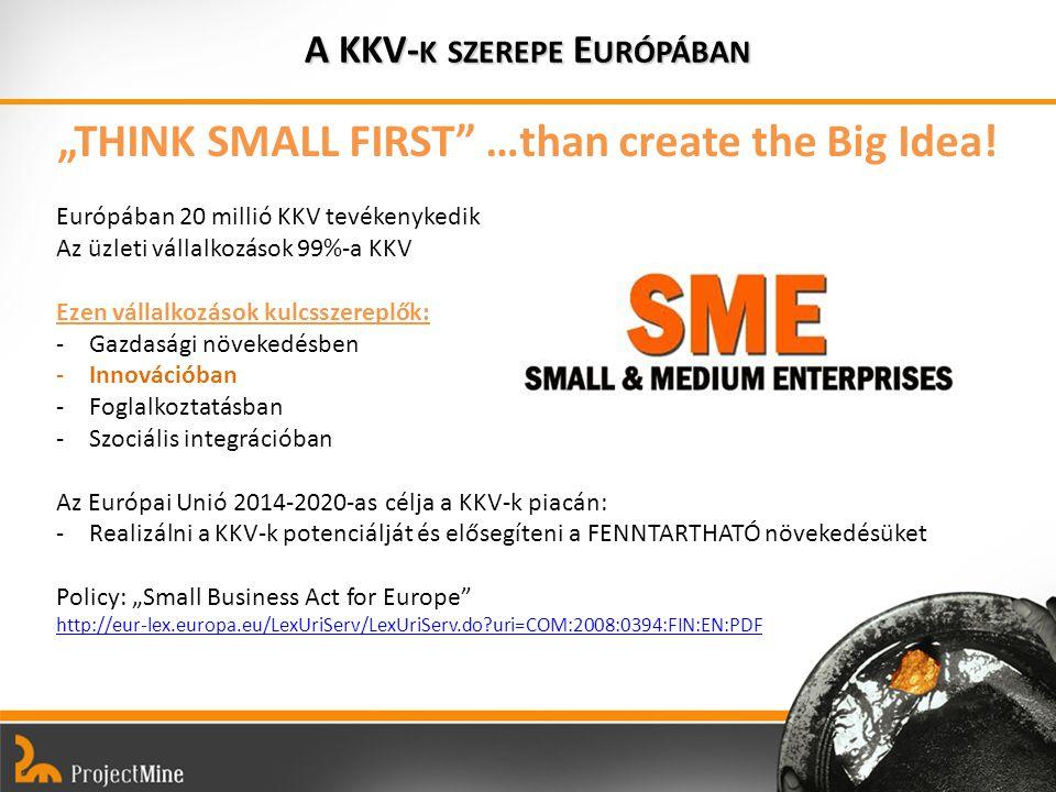 """A KKV- K SZEREPE E URÓPÁBAN """"THINK SMALL FIRST …than create the Big Idea."""