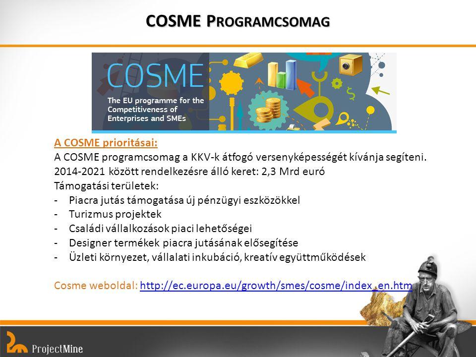 COSME P ROGRAMCSOMAG A COSME prioritásai: A COSME programcsomag a KKV-k átfogó versenyképességét kívánja segíteni.