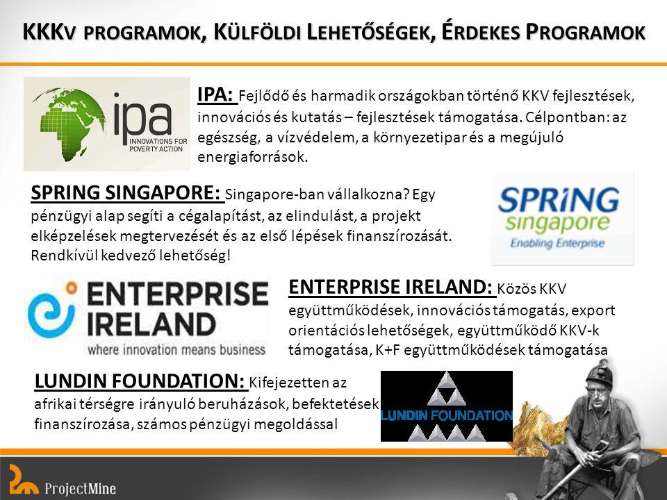 KKK V PROGRAMOK, K ÜLFÖLDI L EHETŐSÉGEK, É RDEKES P ROGRAMOK IPA: Fejlődő és harmadik országokban történő KKV fejlesztések, innovációs és kutatás – fejlesztések támogatása.