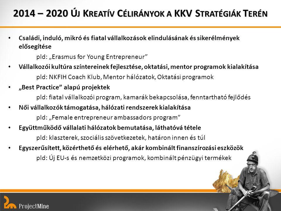 """Családi, induló, mikró és fiatal vállalkozások elindulásának és sikerélmények elősegítése pld: """"Erasmus for Young Entrepreneur Vállalkozói kultúra színtereinek fejlesztése, oktatási, mentor programok kialakítása pld: NKFIH Coach Klub, Mentor hálózatok, Oktatási programok """"Best Practice alapú projektek pld: fiatal vállalkozói program, kamarák bekapcsolása, fenntartható fejlődés Női vállalkozók támogatása, hálózati rendszerek kialakítása pld: """"Female entrepreneur ambassadors program Együttműködő vállalati hálózatok bemutatása, láthatóvá tétele pld: klaszterek, szociális szövetkezetek, határon innen és túl Egyszerűsített, közérthető és elérhető, akár kombinált finanszírozási eszközök pld: Új EU-s és nemzetközi programok, kombinált pénzügyi termékek 2014 – 2020 Ú J K REATÍV C ÉLIRÁNYOK A KKV S TRATÉGIÁK T ERÉN"""