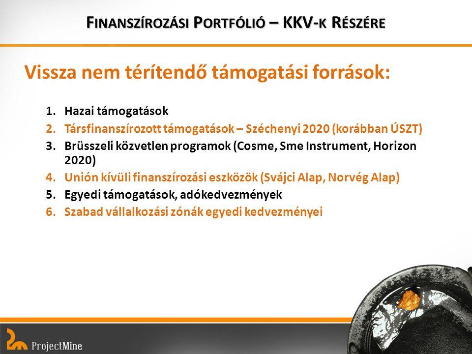 Vissza nem térítendő támogatási források: 1.Hazai támogatások 2.Társfinanszírozott támogatások – Széchenyi 2020 (korábban ÚSZT) 3.Brüsszeli közvetlen programok (Cosme, Sme Instrument, Horizon 2020) 4.Unión kívüli finanszírozási eszközök (Svájci Alap, Norvég Alap) 5.Egyedi támogatások, adókedvezmények 6.Szabad vállalkozási zónák egyedi kedvezményei