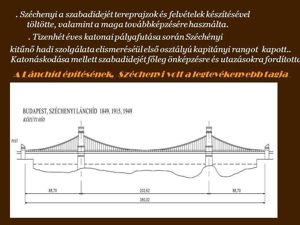 Széchenyi a szabadidejét tereprajzok és felvételek készítésével töltötte, valamint a maga továbbképzésére használta..