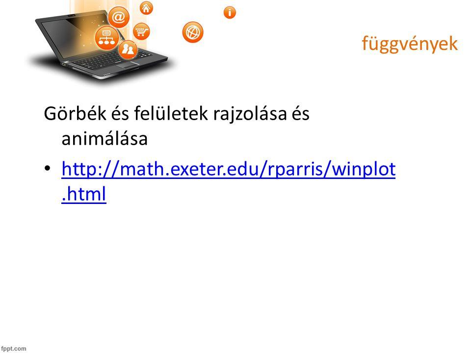 függvények Görbék és felületek rajzolása és animálása http://math.exeter.edu/rparris/winplot.html http://math.exeter.edu/rparris/winplot.html