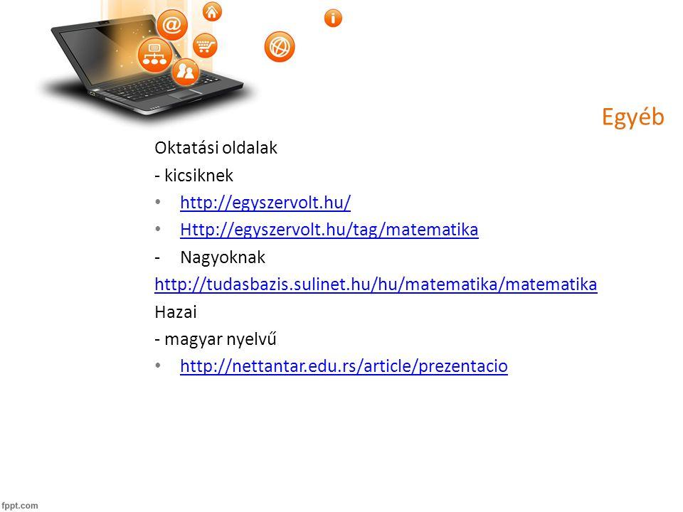 Egyéb Oktatási oldalak - kicsiknek http://egyszervolt.hu/ Http://egyszervolt.hu/tag/matematika -Nagyoknak http://tudasbazis.sulinet.hu/hu/matematika/matematika Hazai - magyar nyelvű http://nettantar.edu.rs/article/prezentacio