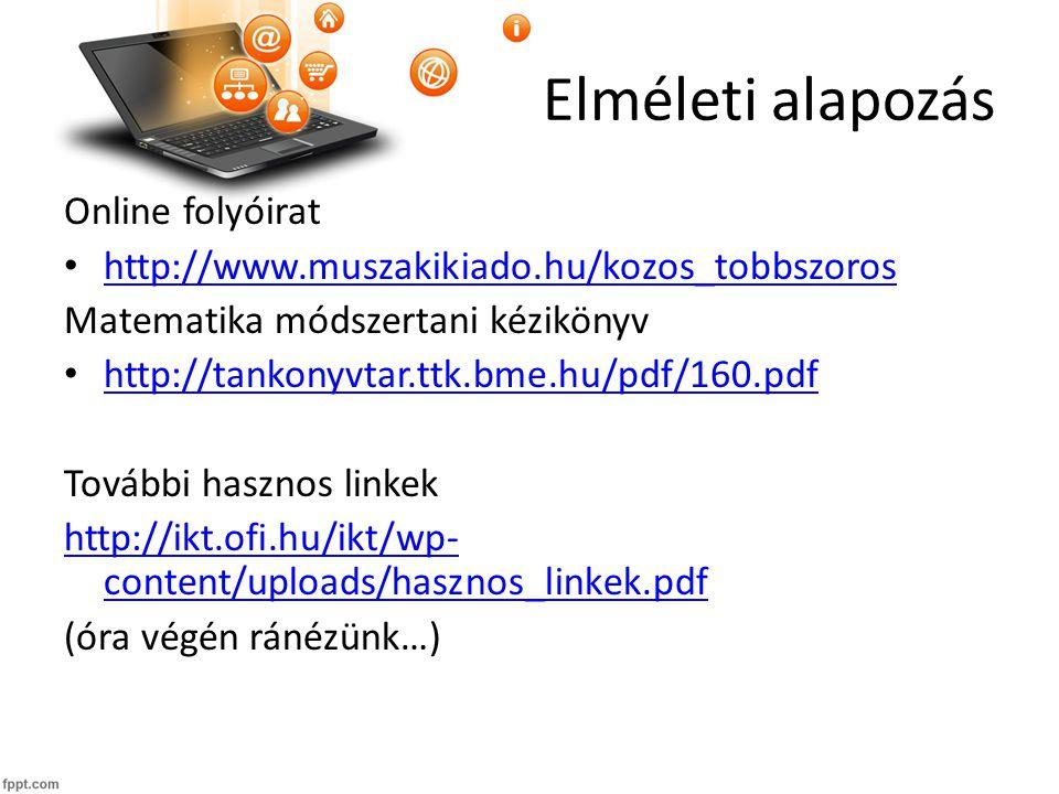 Elméleti alapozás Online folyóirat http://www.muszakikiado.hu/kozos_tobbszoros Matematika módszertani kézikönyv http://tankonyvtar.ttk.bme.hu/pdf/160.pdf További hasznos linkek http://ikt.ofi.hu/ikt/wp- content/uploads/hasznos_linkek.pdf (óra végén ránézünk…)