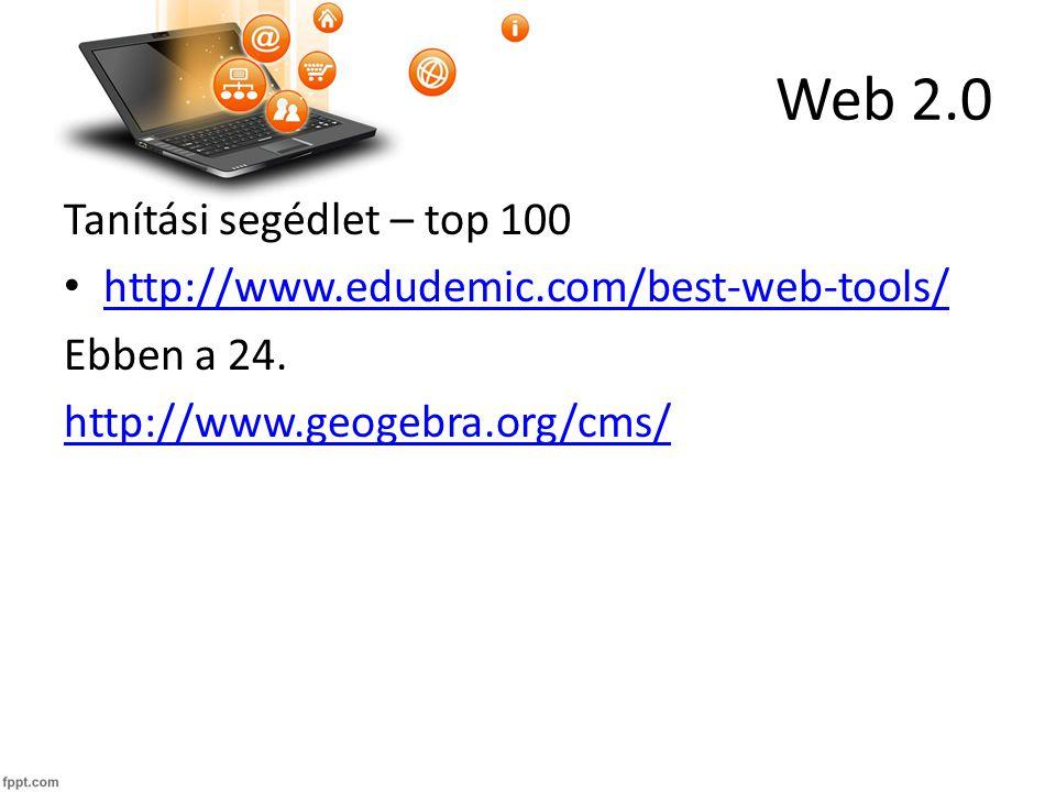 Web 2.0 Tanítási segédlet – top 100 http://www.edudemic.com/best-web-tools/ Ebben a 24.