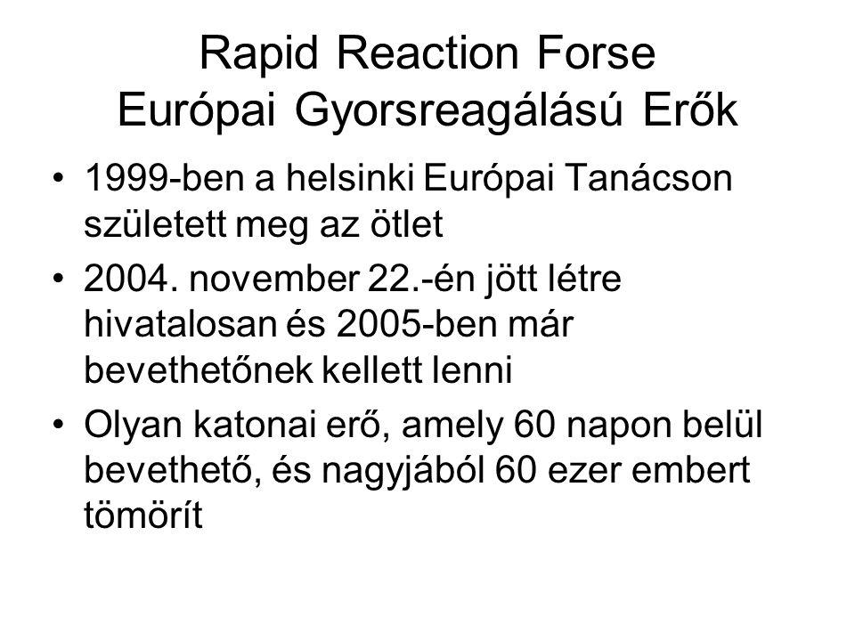 Rapid Reaction Forse Európai Gyorsreagálású Erők 1999-ben a helsinki Európai Tanácson született meg az ötlet 2004.